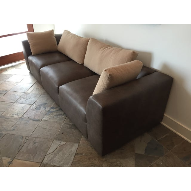 Mourra Starr Sofa, Brown Faux Leather - Image 4 of 7