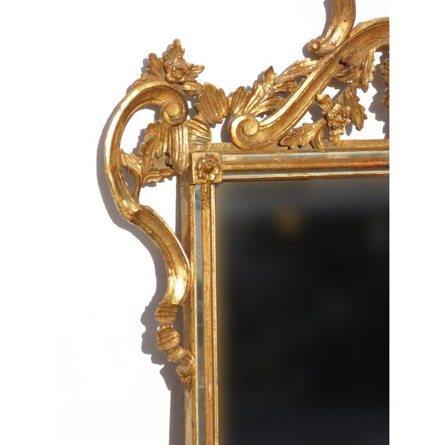 Large Vintage French Italian Rococo Ornately Carved Gold Gilt Wall Mantle Mirror Made in Italy - Image 9 of 11