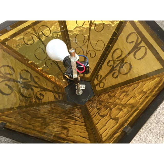 Gothic Spanish Revival Iron Slag Glass Light - Image 7 of 7