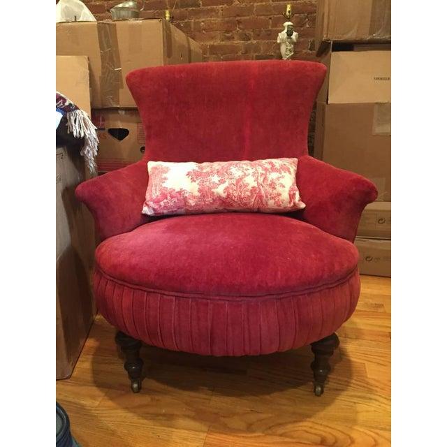 Victorian Red Velvet Slipper Chair - Image 6 of 6