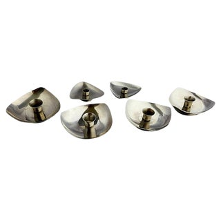 Midcentury Danish Stainless Candle Holders S/6