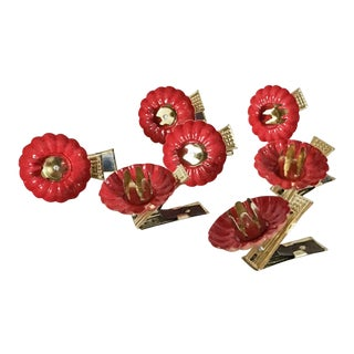 Red Enamel & Gold Christmas Tree Clip-On Candle Holders - Set of 7