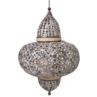 Vintage Inspired Moroccan Style Perforated Metal Lantern