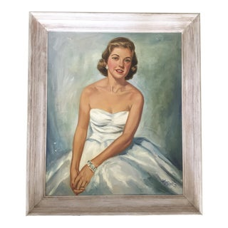 Large 1957 Lady Portrait Painting
