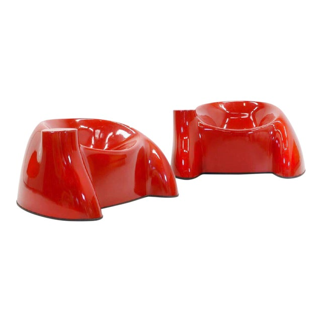 1969 Wendell Castle Molar Collection Red Lounge Chairs - a Pair - Image 4 of 4