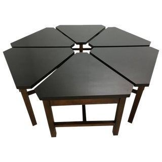 Petal Cocktail Table Six Pieces Black Lacquered Tops and Walnut Bases