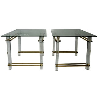 Vintage Fiam Italia Lucite & Brass Glass Top Side Tables- A Pair