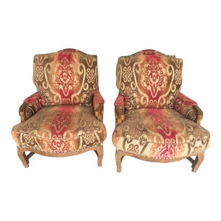 Knuckle Bergere Chairs W/Large Nail Heads - A Pair