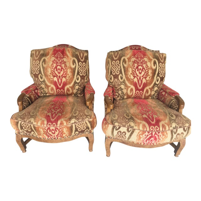 Image of Knuckle Bergere Chairs W/Large Nail Heads - A Pair