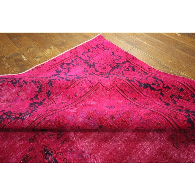 "Pink Overdyed Oriental Floral Rug - 9'6"" x 14'10"" - Image 9 of 10"