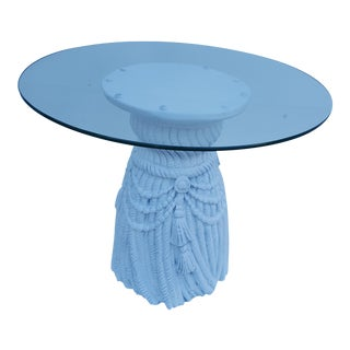 Vintage Hollywood Regency Faux Rope/Tassel Plaster Side Table