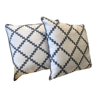 White & Gray Throw Pillows - A Pair