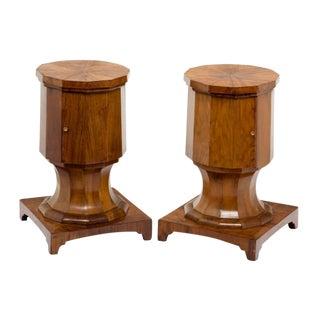 Italian Walnut Pedestal Cabinets