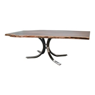 Osvaldo Borsani Table Base with Live Edge Walnut Top