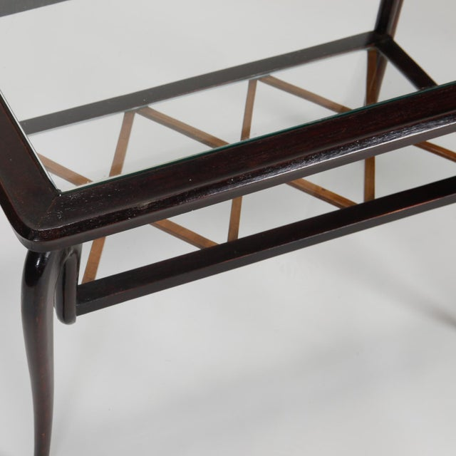 Antique Art Deco Tiered Walnut Glass Side Table - Image 7 of 11