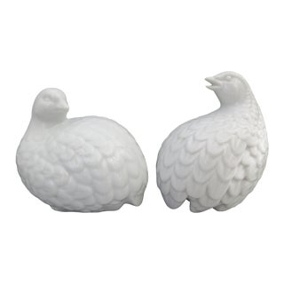 Homco White Ceramic Quail Figurines - A Pair