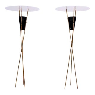 Pair of Tripod Torchieres Floor Lamps