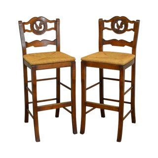 French Country Carved Rooster Ladder Back Rush Seat Bar Counter Stools - A Pair