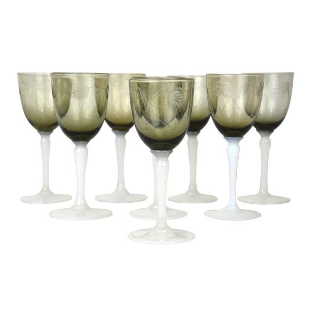 Vintage Smoke Grey Goblets - Set of 9 - Image 2 of 9