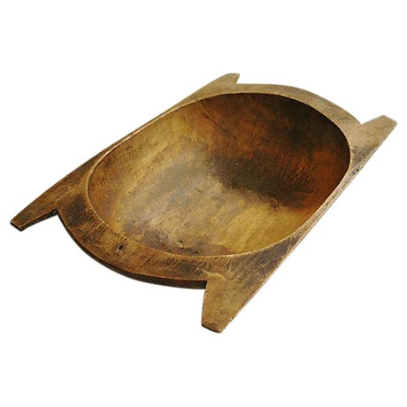 Image of Large Antique French Wooden Harvest Dough Bowl