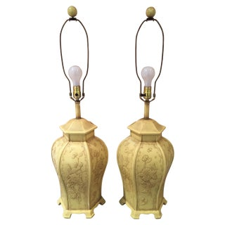Vintage Yellow Pagoda Chinoiserie Lamps - A Pair