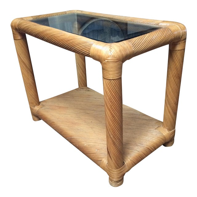 Two Tier Rattan Table - Image 1 of 6