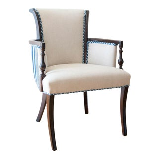 Vintage African Indigo Mudcloth Bergere Accent Chair