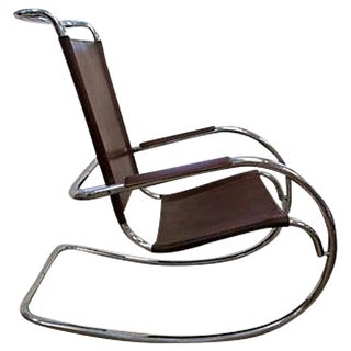 Vintage Chrome and Leather Rocking Chair