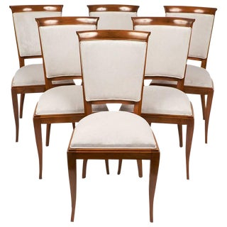 French Polished Art Deco Walnut Dining Chairs