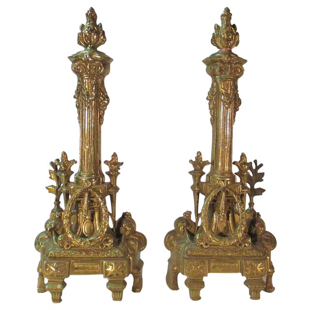 French Brass Andirons - A Pair - Image 1 of 5
