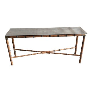 Antique Wooden Brass Detailed Bamboo Table