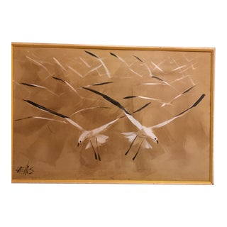 Mid Century Oil Painting of Seagulls by Ellis