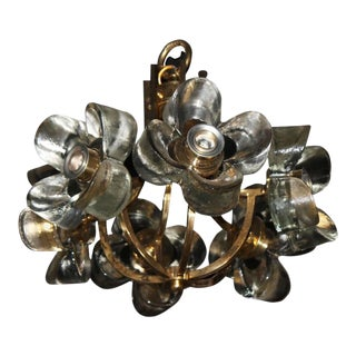 Murano Mazzega Glass & Brass Flower Chandelier