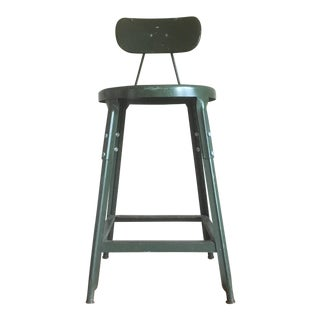 Industrial Army Green Metal Stool