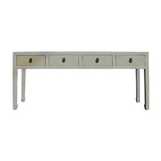 Chinese Distressed Gray 4 Drawer Low Console Table