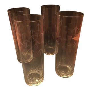 Vintage 1950s Noritake Bamboo Pattern Glasses - Set of 4