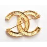 Image of Authentic Vintage Chanel CC Rhinestone Gold Brooch