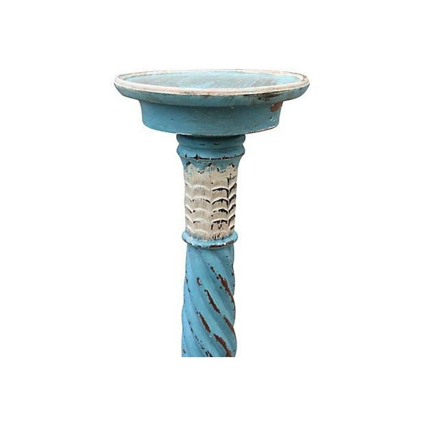 French Country Pedestal in Blue and Cream - Image 2 of 3