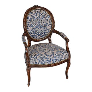 Antique Italian Carved Oak & Mariano Fortuny Corone Fabric Armchair