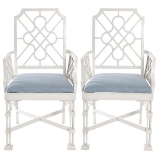 White Painted Chinese Chippendale Style Fretwork Armchairs - A Pair