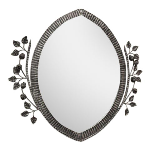 Image of Large French Art Deco Iron Mirrors Floral Motif Circa 1940s