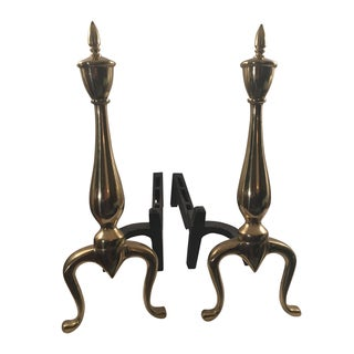 Vintage Brass & Iron Fireplace Andirons - A Pair