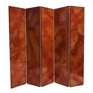 Rare Signed Karl Springer Five-Panel Folding Screen Parchment/Goatskin & Leather