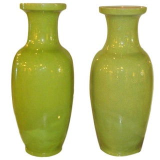 Large Lime Green Celedon Vases - a Pair