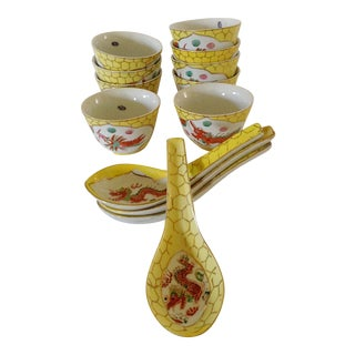 Japanese Tea Cups & Spoons - Set of 13