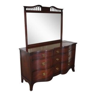 1940's Drexel Travis Court Mahogany Serpentine Dresser & Mirror