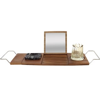 Danish Teak Modern Bath Tray & Holders - Set of 3