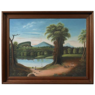 Landscape View of a Pond with Figures and Sailboats