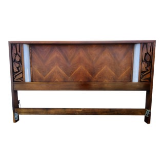 Illuminated Walnut Brutalist Style King Size Bed