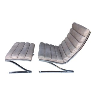 DIA Leather & Chrome Chair and Ottoman